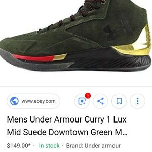 84dd424785db Under Armour · Under Armour Curry 1 Lux green and gold shoes